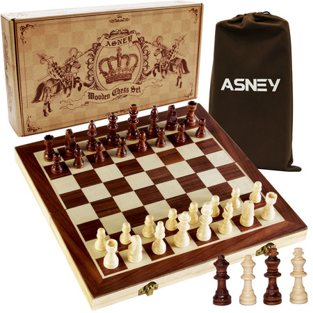 "ASNEY 15"" x 15"" Magnetic Chess Set,  with Magnetic Crafted Chess Pieces and Extra Kings Queens"