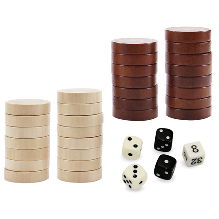 ASNEY WoodenBackgammon Pieces  Checker Pieces Only, Chips and 5 Dices, Includes Storage Bag