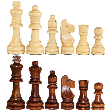 "ASNEY Wooden Chess Pieces Only, 3.15"" King Size, Includes Storage Bag"