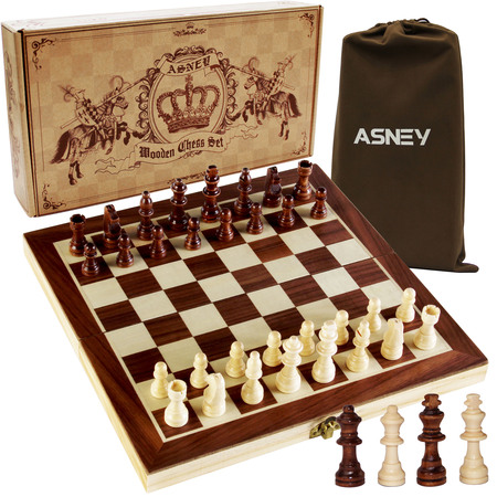 "ASNEY 12"" x 12"" Magnetic Chess Set,  with Magnetic Crafted Chess Pieces and Extra Kings Queens"